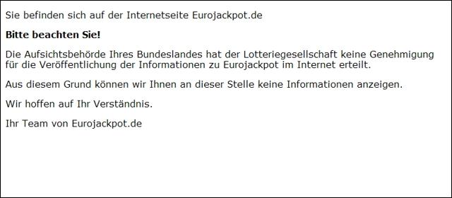 Nicht genehmigte Internetseite des Eurojackpot